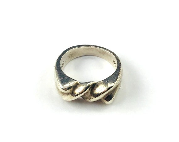 Vintage Aged Silver Twist Ring Boho Hippie Chic Minimalist Band Jewelry Size 5