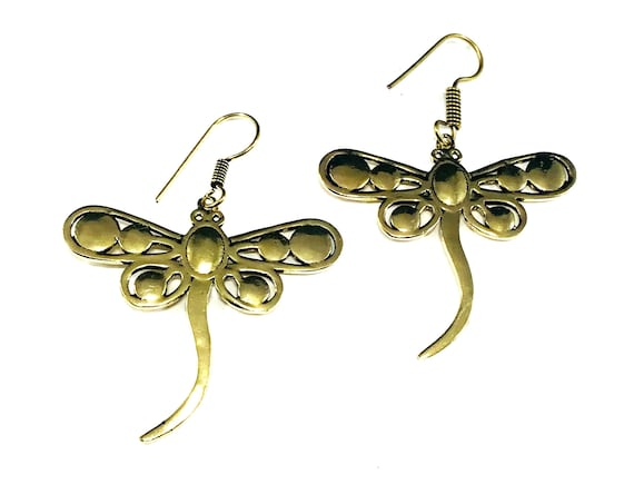 GOLD Color Tone Brass DRAGONFLY Insect Earrings Nature Unique Pierced Dangle Metal Boho