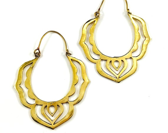 GOLD Color Indian Middle Eastern BRASS Metal Cutout HOOP Earrings Jewelry Pierced