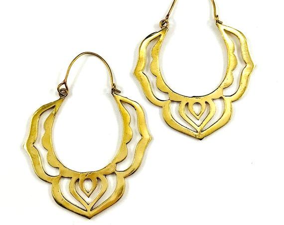 GOLD Color Indian Middle Eastern BRASS Metal Cutout HOOP Earrings Jewelry Pierced