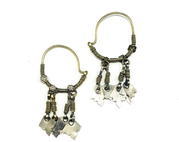 Vintage SILVER Tone Afghan Middle Eastern Metal Tribal Hoop Dangle Chandelier Earrings Abstract Artisan Nomad Boho Bohemian Chic Jewelry
