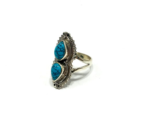 Artisan Turquoise Silver Double Stone Chunky Boho Hippie Gypsy Tribal Festival Statement Ring Size 6