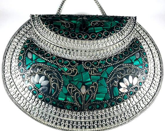 Green Silver Stone Inlay Metal Purse Indian Middle Eastern Boho Chic Style