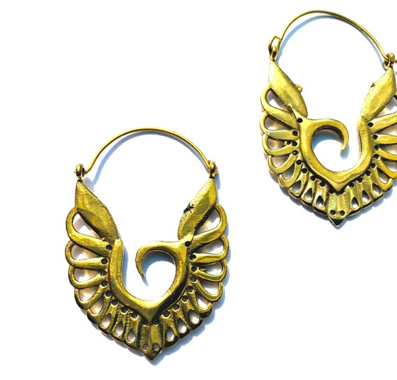 GOLD Tone Brass Earrings Abstract WING Artisan Design Indian Boho Hippie Unique Metal