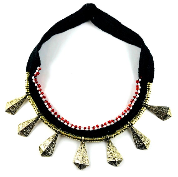Black Metal Afghan Spiked CHOKER Necklace Beaded Glass Beads Detailed Fabric Jewelry Boho Punk Goth Festival Tribal