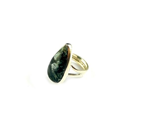 Sterling Silver STATEMENT Ring Jewelry Seraphinite Boho Goth Greenish Stone Ring Hippie Bohemian Chic Healing Chakra Soul Divine Ring 6.5