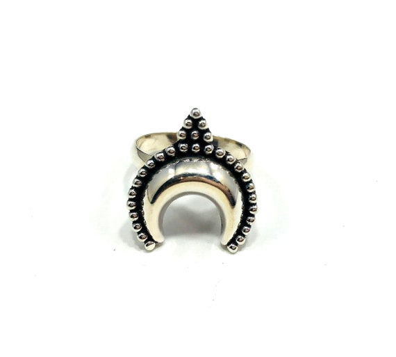 SILVER Etched Carved Crescent MOON Ring Sterling 925 Jewelry Middle Eastern Tribal Indian Boho Bohemian Chic Statement