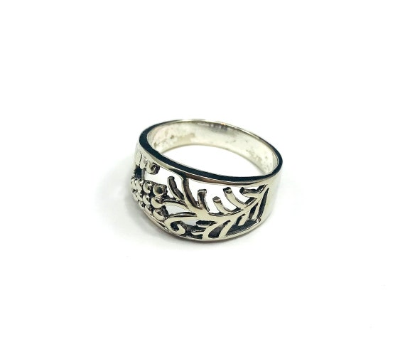 Floral Plants Flowers Carved Cutout 925 Silver Ring Boho Gypsy Statement Spinner Stackable Unique Tribal
