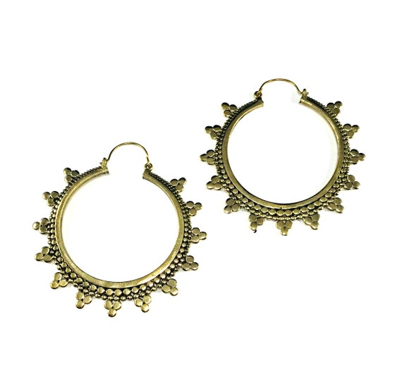 GOLD Tone Color Etched Circle Detail BRASS Hoops Indian Middle Eastern Artisan Unique Boho Bohemian Chic