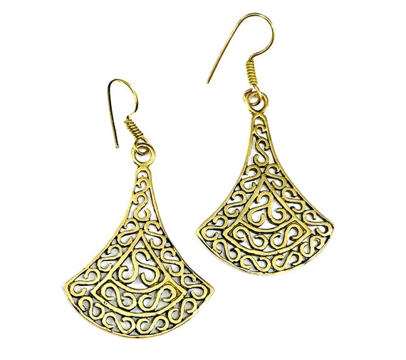GOLD Tone BRASS Artisan Indian Middle Eastern Drop Hook Pierced Earrings Metal Filigree Artisan Boho Bohemian Chic