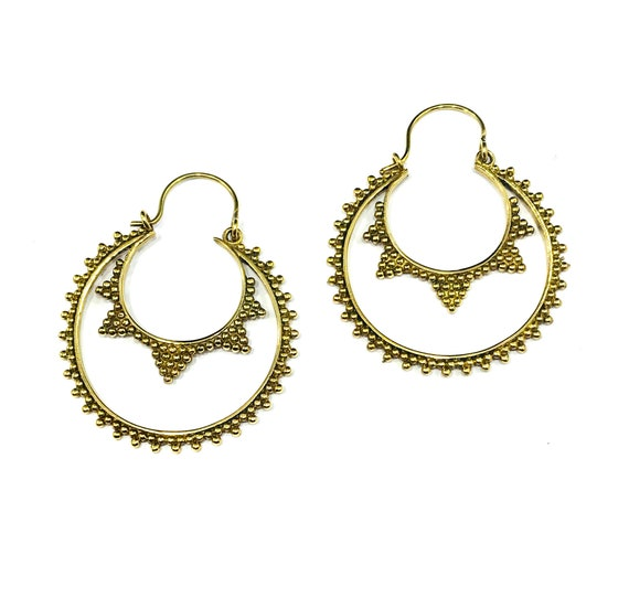 GOLD Tone BRASS Bead Detail Intricate Cutout Cut Out Negative Space Hoop Earrings Hoops Crescent Jewelry Middle Eastern Indian