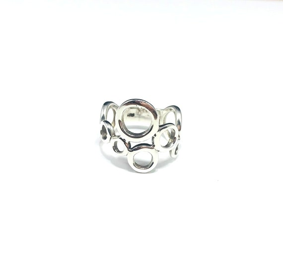 Open Work CUTOUT Cutout Circles Circle Sterling Silver Band Artisan Ring Artistic Stylish Wearable Art Minimalist 925 Size 7