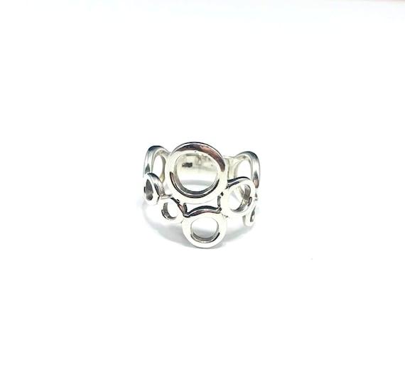 Open Work CUTOUT Cutout Circles Circle Sterling Silver Band Artisan Ring Artistic Stylish Wearable Art Minimalist 925 Size 7