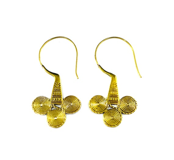 GOLD Tone Brass Metal North African Middle Eastern Indian Style Earrings Tribal Boho Bohemian Chic Hook Dangle Drop Jewelry
