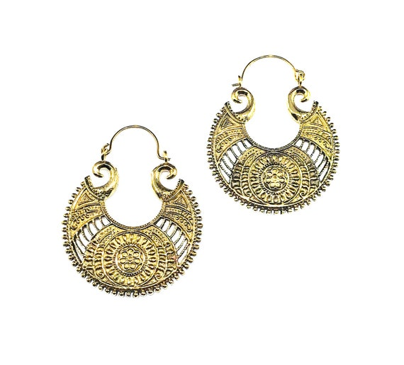 ROYAL Regal GOLD Tone Brass Metal Crescent Hoop Earrings Intricate Artisan Indian Middle Eastern Jewelry Boho Chic Bohemian Hippie Beautiful