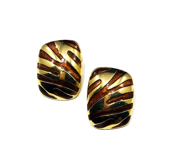 Vintage Tiger Stripe Animal Print Pierced Gold Tone Metal Enamel Fashion Button Earrings 80s 90s