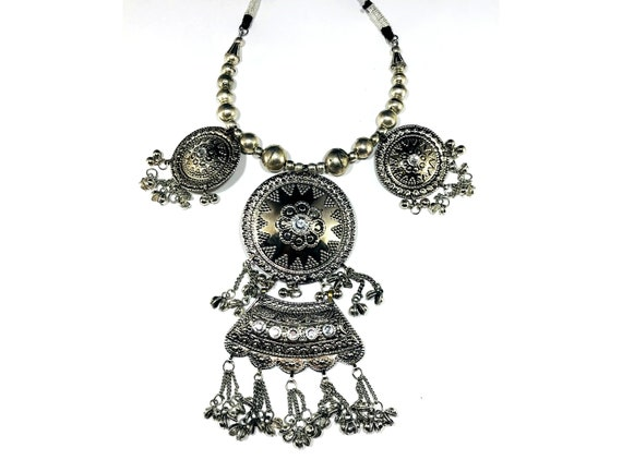 Silver Plated STATEMENT Boho Afghan Indian Gypsy Ethnic Tribal Bib Choker Necklace Festival Fashion