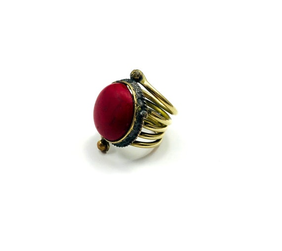 Vintage Afghan Middle Eastern Tribal Gypsy Nomad Red Coral Color Stone Statement Ring Chunky Layered Boho Bohemian Chic Size 5 5.5