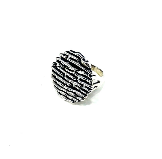 STATEMENT Sterling SILVER Large Abstract Artisan Design Brutalist Art Disk Ring Boho Bohemian Tribal Unique Rare Size 6 6.5