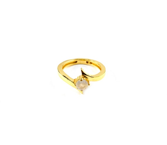 GOLD Tone BRASS Minimalist MOONSTONE Ring Asymmetrical Sizes 6 7 8