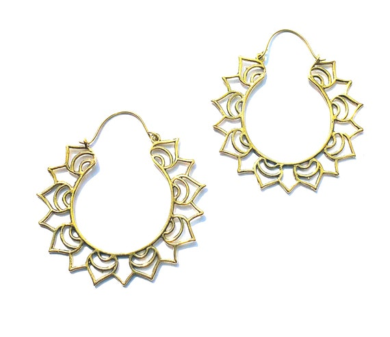 GOLD Tone Brass Hoop Floral Flower Petal Large Statement Hoops Earrings Indian Boho Hippie Chic Style