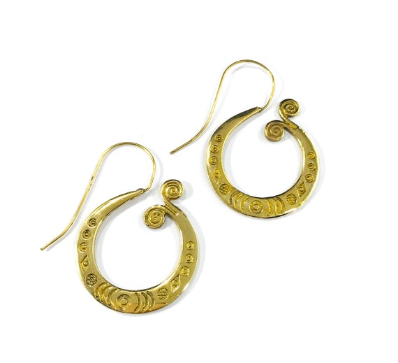 GOLD Tone Brass Artisan Hook Hoop North African Middle Eastern Indian Style Tribal Earrings Jewelry Boho Bohemian Chic Nomad