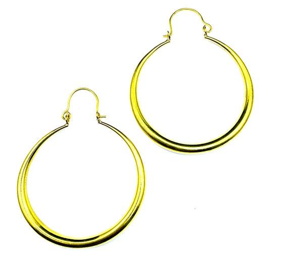 Medium Sized GOLD Tone Hoop EARRINGS Minimalist Classic Stylish