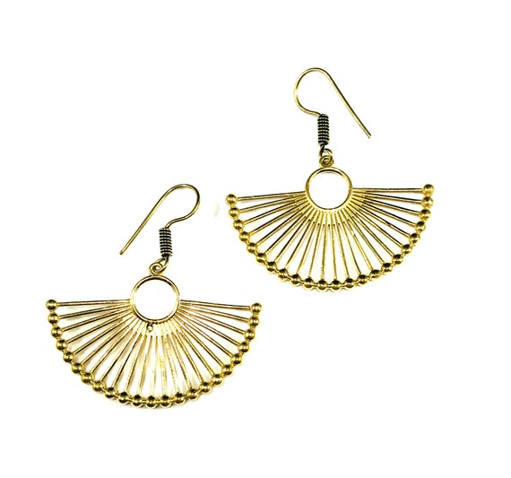 GOLD Tone Brass Metal Bead Fan Shape Art Deco Drop Dangle Earrings Hook Pierced Indian Middle Eastern Jewelry