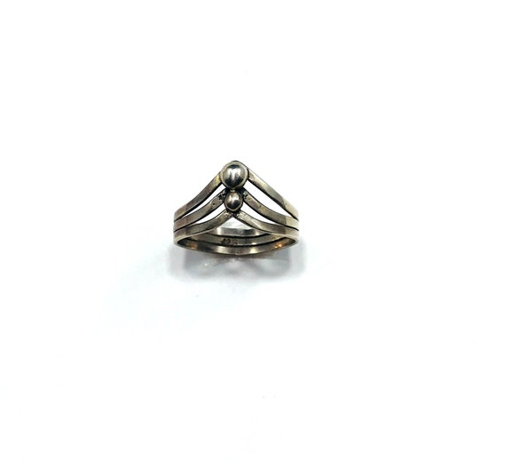 Vintage ARTISAN Silver Double Band Bead Ring Boho Stackable Metal Size 7.5