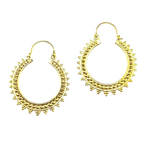 GOLD Tone Brass hoop earrings with circle spike etched details Indian Middle Eastern Boho Bohemian Chic Hoops