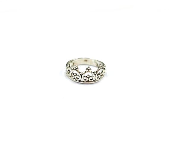 Elegant Sterling SILVER Stackable CROWN Filigree Detailed Artisan Band Ring Boho Chic Bohemian Hippie Size 6 7