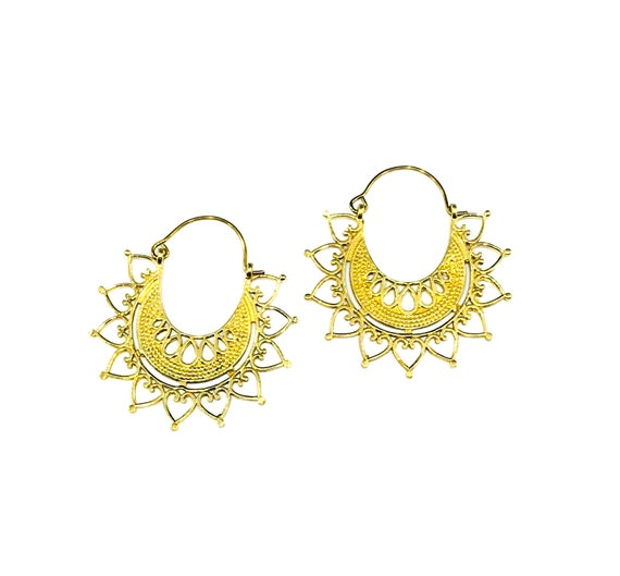GOLD Tone HEARTS Filigree Detail BRASS Metal Earrings Artisan Boho Chic Bohemian Hoops Indian Middle Eastern