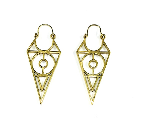 GOLD Tone Color Brass SPIKE Spiked Geometric Drop Hoop Closure Earrings Middle Eastern Tribal Indian Artisan Metal Boho