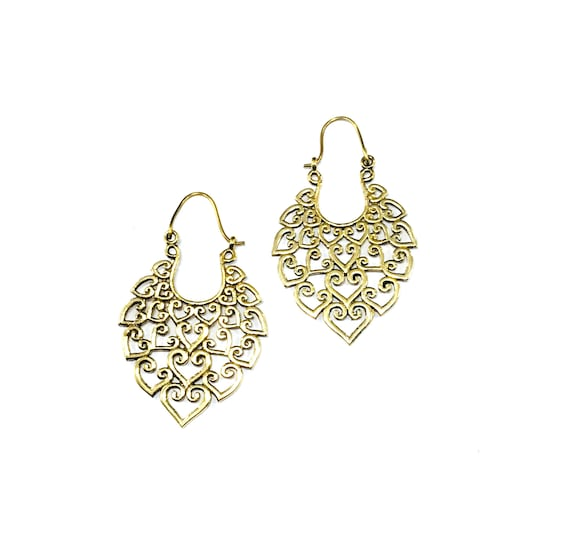 GOLD Tone BRASS Intricate Metal Cutout HEARTS Teardrop Hoop Earrings Artisan Indian Middle Eastern Filigree Scroll Jewelry