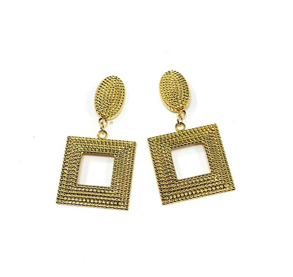 Vintage GOLD Tone Hammered Drop Dangle Earrings 80's 90's Pierced