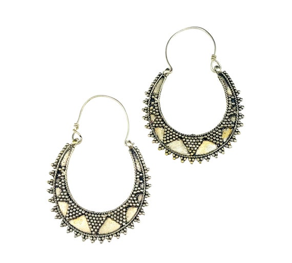 Afghan Middle Eastern SILVER color Metal Boho Chic Bohemian Hippie Earrings Festival Hoop Statement Dangle Pierced