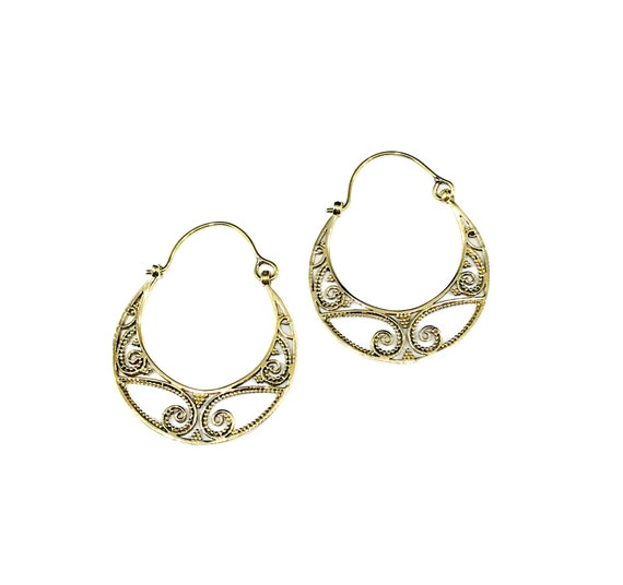 GOLD Tone BRASS Cutout Cut Out Crescent Moon HOOP Earrings Filigree Scroll Artisan Boho Indian Middle Eastern Bohemian Nomad Design