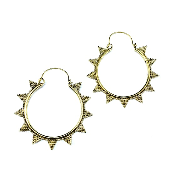 GOLD Tone BRASS Metal Spike Bead Detail Beaded Boho Statement HOOP Hoops Earrings Jewelry Indian Middle Eastern Bohemian Chic