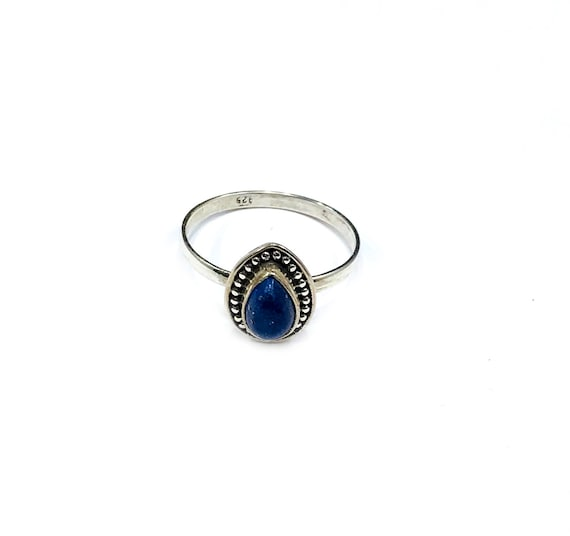 Simple Minimalist LAPIS Sterling SILVER Ring Jewelry Boho Southwest Southwestern Native American Inspired Blue Stone Artisan Tribal Size 7