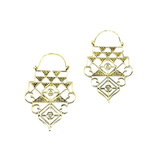GOLD Tone Brass Artisan Intricate STATEMENTWire Cutout Cut Out Drop Earrings Jewelry Indian Middle Eastern Style Boho Bohemian Chic