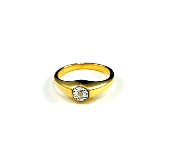 Vintage 14k GOLD Plated SIGNET Crystal Ring Jewelry Minimalist Band Size 7