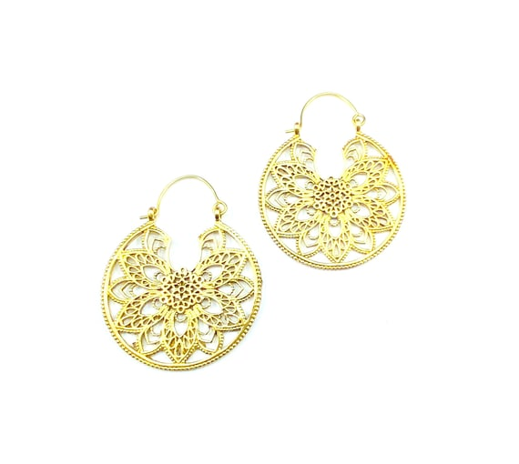Intricate GOLD Tone Brass Floral Circle Hoop Earrings Indian Middle Eastern Boho Bohemian Hippie Chic Jewelry