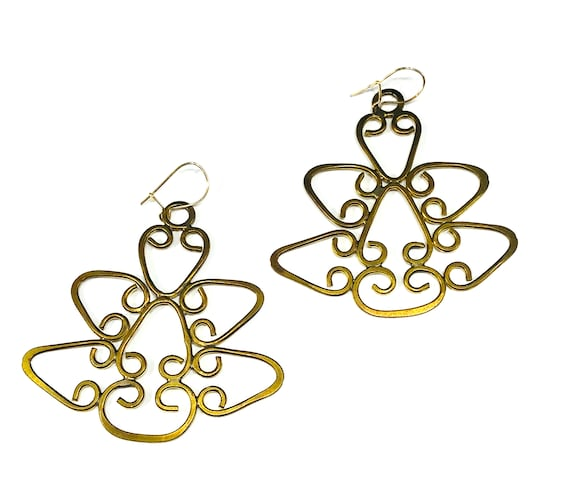 Vintage Gold Color Brass Filigree Statement Earrings Piereced Dangle Wire Unique
