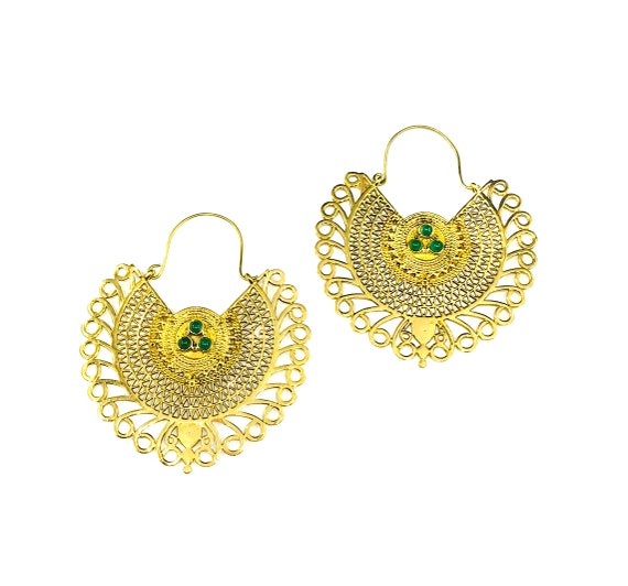 GOLD Tone Color FILIGREE Brass Earrings Green Glass Beads 3/4 Circle Hoop Earrings Nomad Tribal Boho Bohemian Chic Indian Middle Eastern