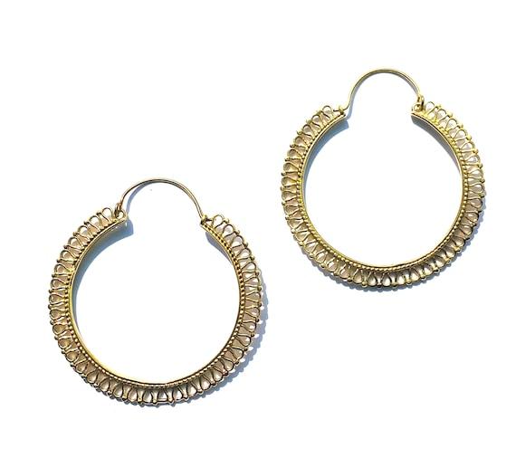 GOLD Tone Brass Hoop Design Earrings Indian Boho Bohemian Chic Artisan