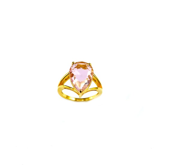 PINK Hydroglass GEM Gemstone GOLD Plated over Brass Statement Cocktail Novelty Big Large Ring Pear Shaped Stone Size 6 7 8