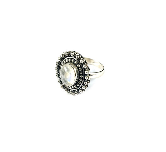 Sterling SILVER 925 MOONSTONE Jewelry STATEMENT Ring Boho Bohemian Chic Magickal Mystical Cocktail Size 8