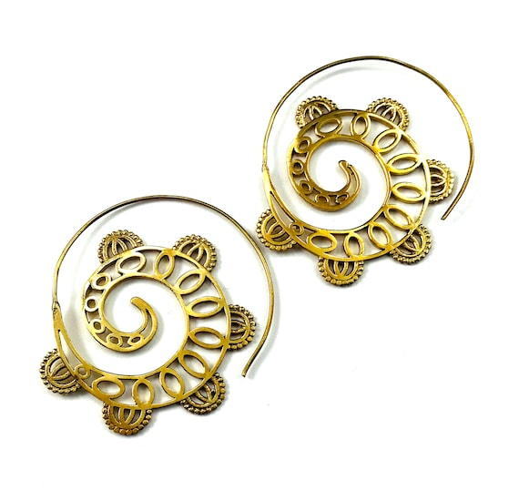 ABSTRACT Intricate Cut Out Cutout Artisan GOLD Tone Color BRASS Hoop Earrings Indian Middle Eastern Tribal