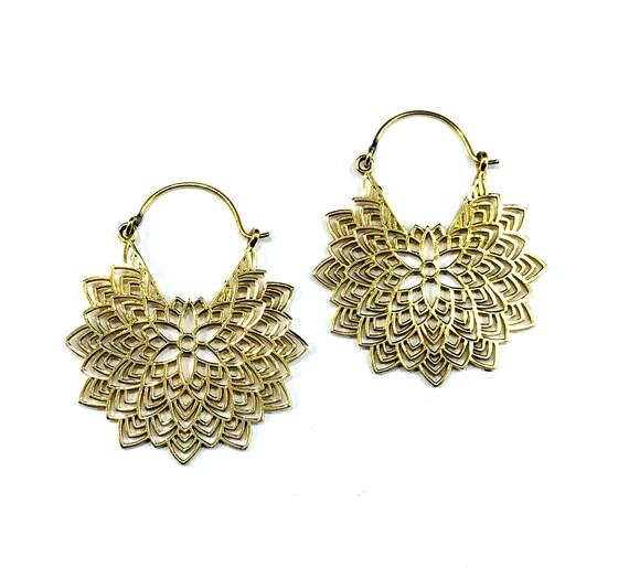 INTRICATE Artisan GOLD Tone Brass Indian Middle Eastern Mandala Hoop Hoops Earrings Jewelry Hippie Chic Boho Bohemian