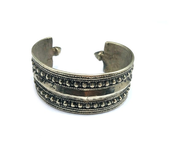 Vintage Afghan Middle Eastern Tribal Nomad Silver Tone Metal Cuff Bracelet Solid Boho Nomad Artisan Nomadic Bohemian Chic Gypsy